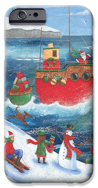Father Christmas iPhone Cases - Coastal Christmas iPhone Case by Peter Adderley