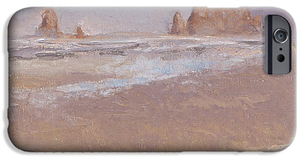 Loose Style Paintings iPhone Cases - Coastal Escape  Cannon Beach Oregon and Haystack Rock  iPhone Case by Karen Whitworth