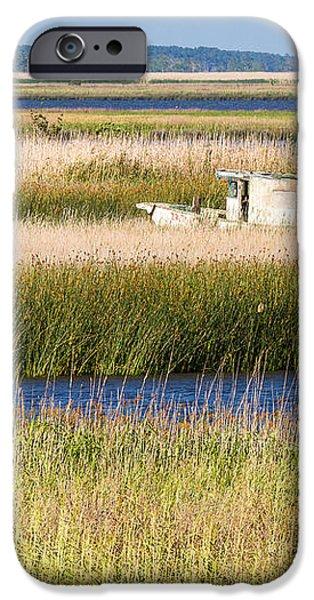 Coastal Marshlands with Old Fishing Boat iPhone Case by Bill Swindaman