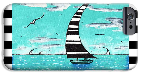 Recently Sold -  - Sea Birds iPhone Cases - Coastal Nautical Decorative Art Original Painting with Stripes REFRESHING by MADART iPhone Case by Megan Duncanson