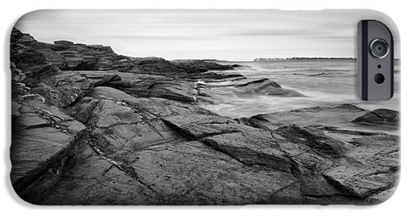 New England Lighthouse iPhone Cases - Coastal Rocks Black and White iPhone Case by Lourry Legarde