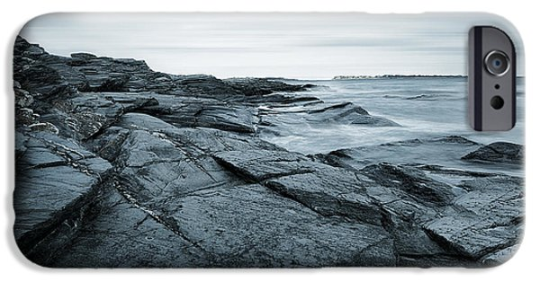New England Lighthouse iPhone Cases - Coastal Rocks iPhone Case by Lourry Legarde
