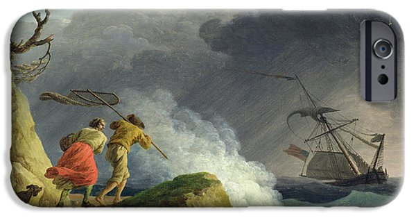 Net Paintings iPhone Cases - Coastal Scene in a Storm iPhone Case by Claude Joseph Vernet