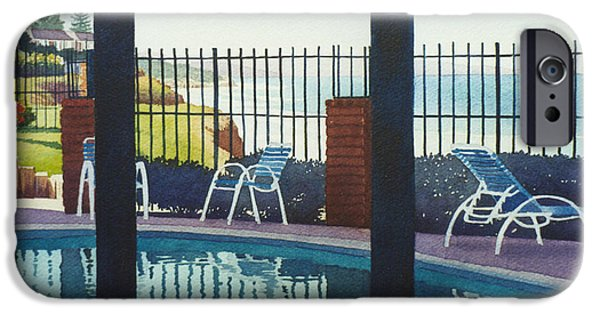 Coast Paintings iPhone Cases - Coastal Swimming Pool iPhone Case by Mary Helmreich