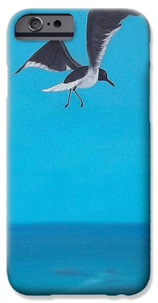 Flying Seagull Paintings iPhone Cases - Coasting iPhone Case by Georgia Griffin