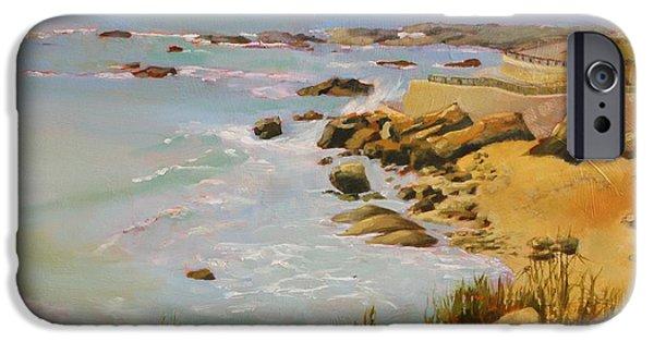 Impressionistic Landscape Paintings iPhone Cases - Coastline iPhone Case by Sue  Darius