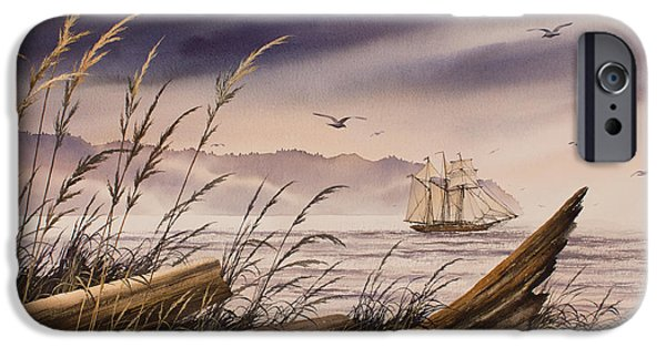 Tall Ship iPhone Cases - Coastwise to the Sea iPhone Case by James Williamson