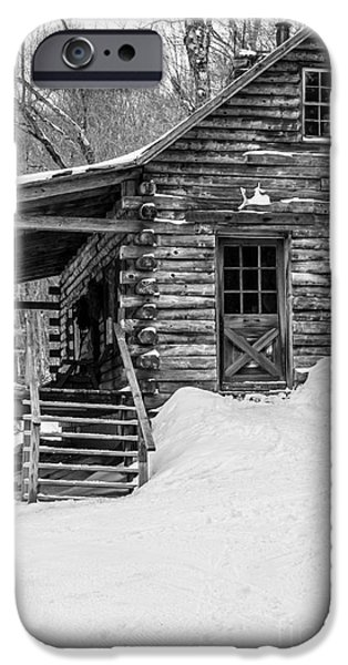 Cabin Window iPhone Cases - Cobber Cabin Stowe Vermont iPhone Case by Edward Fielding