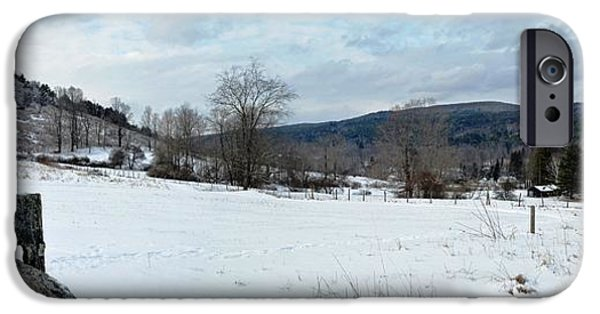 New England Snow Scene iPhone Cases - Cobble Mountain Panorama iPhone Case by Geoffrey Coelho