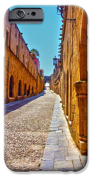 Town iPhone Cases - Rhodes Cobbled Street iPhone Case by Scott Carruthers