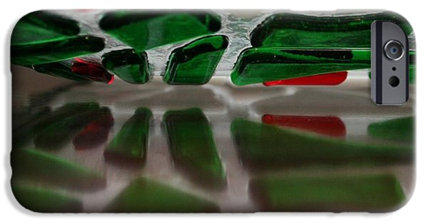 Christmas Glass Art iPhone Cases - Cobblestone Collection Wreath Reflections iPhone Case by Marsha Painter