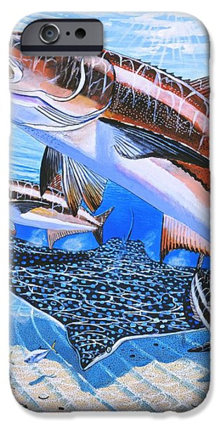 Islamorada iPhone Cases - Cobia on Rays iPhone Case by Carey Chen