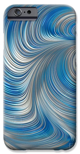 Mysterious Digital Art iPhone Cases - Cobolt Flow iPhone Case by John Edwards