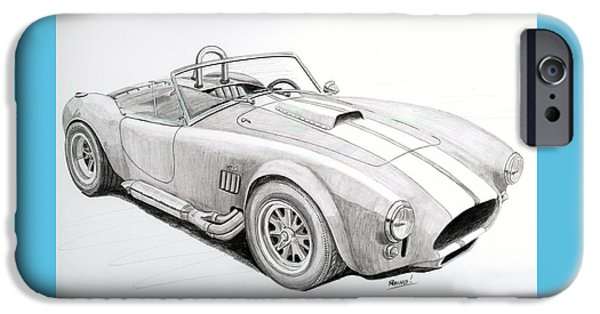 Mechanics Drawings iPhone Cases - AC Ford Cobra with 427  iPhone Case by Rick Bennett