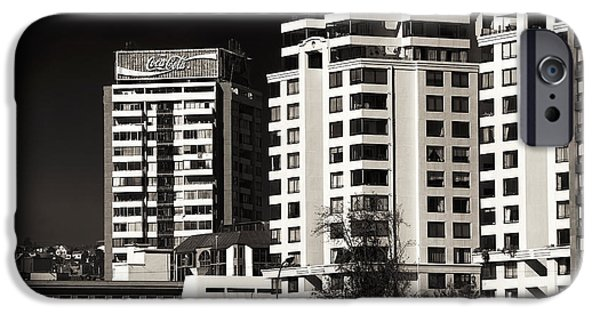 Vineyard Prints iPhone Cases - Coca Cola Building in Vina del Mar iPhone Case by John Rizzuto