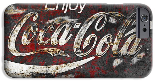 Rust Photographs iPhone Cases - Coca Cola Grunge Sign iPhone Case by John Stephens