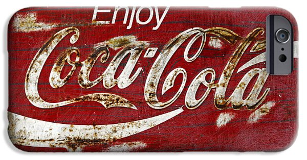 Coca-cola Signs iPhone Cases - Coca Cola Red Grunge Sign iPhone Case by John Stephens