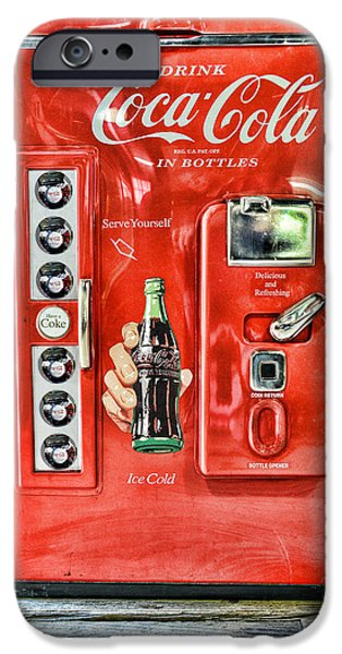 Paul Ward iPhone Cases - Coca-Cola retro style iPhone Case by Paul Ward