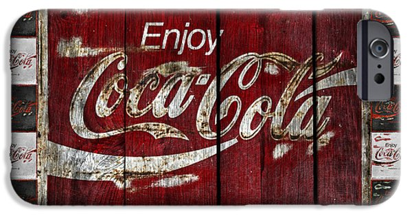 Coca-cola Signs iPhone Cases - Coca Cola Sign With Little Cokes Border iPhone Case by John Stephens