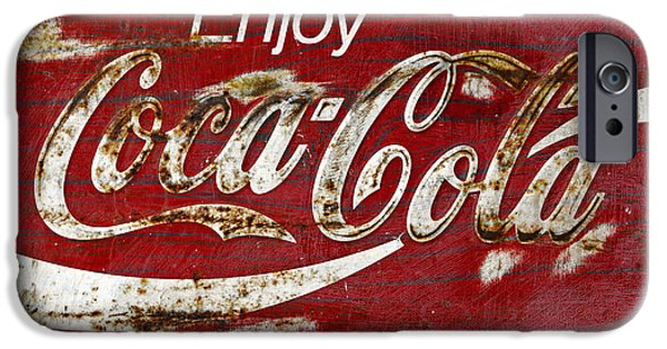 Coca-cola Signs iPhone Cases - Coca Cola Wood Grunge Sign iPhone Case by John Stephens