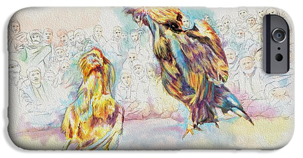 Cock iPhone Cases - Cock fighting iPhone Case by Catf