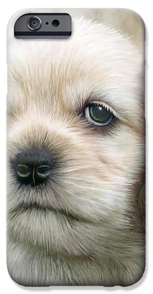 Cocker Pup Portrait iPhone Case by Carol Cavalaris