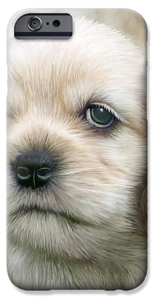 Young Mixed Media iPhone Cases - Cocker Pup Portrait iPhone Case by Carol Cavalaris