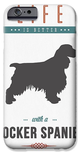 Canine Mixed Media iPhone Cases - Cocker Spaniel 01 iPhone Case by Aged Pixel