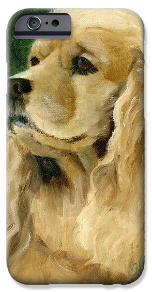 Cocker Spaniel Paintings iPhone Cases - Cocker Spaniel Dog iPhone Case by Alice Leggett
