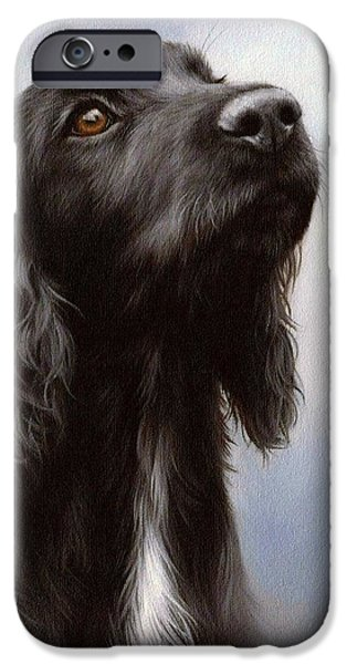 Black Dog iPhone Cases - Cocker Spaniel Painting iPhone Case by Rachel Stribbling