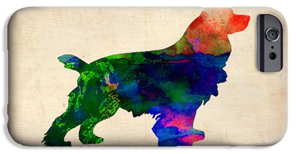 Spaniel Puppy iPhone Cases - Cocker Spaniel Watercolor iPhone Case by Naxart Studio