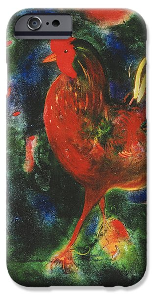 Chickens iPhone Cases - Cockerel, 2005 Giclee Print iPhone Case by Jane Deakin