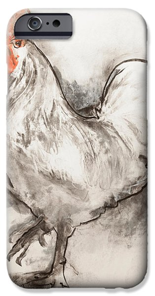 White Pastels iPhone Cases - Cockerel  Two iPhone Case by Janet Goddard