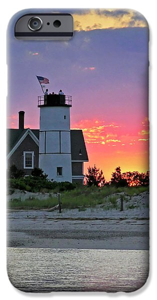 Best Sellers -  - 4th July Photographs iPhone Cases - Cocktail Hour at Sandy Neck Lighthouse iPhone Case by Charles Harden