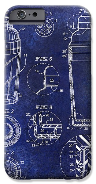 Stir iPhone Cases - Cocktail Shaker Patent Drawing Blue iPhone Case by Jon Neidert