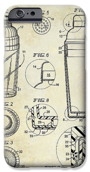 Stir iPhone Cases - Cocktail Shaker Patent Drawing iPhone Case by Jon Neidert