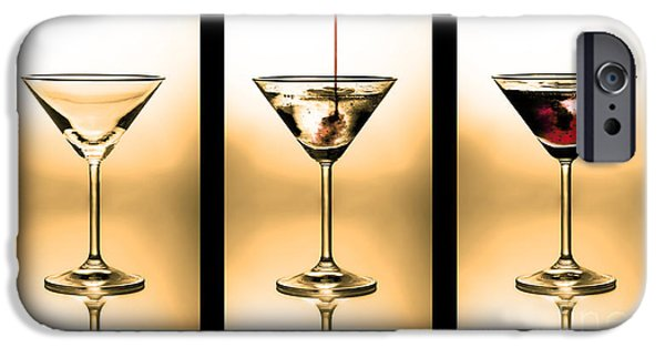 Empty iPhone Cases - Cocktail triptych in gold iPhone Case by Jane Rix