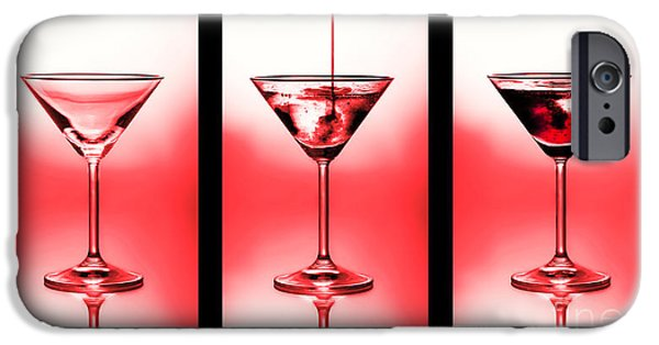 Stir iPhone Cases - Cocktail triptych in red iPhone Case by Jane Rix