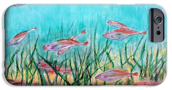 Marine Pastels iPhone Cases - Cod In The Grass iPhone Case by Daniel Dubinsky