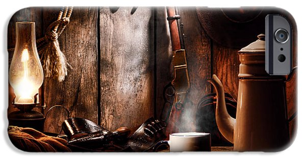 Cowboy Gear iPhone Cases - Coffee at the Cabin iPhone Case by Olivier Le Queinec