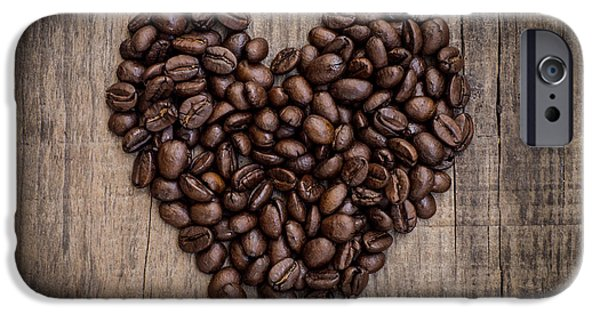 Concept Photographs iPhone Cases - Coffee Bean Heart iPhone Case by Aged Pixel