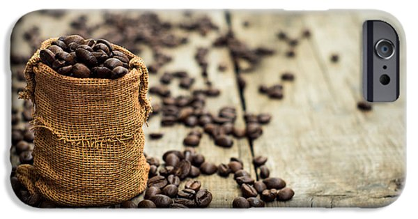 Pause iPhone Cases - Coffee Beans iPhone Case by Aged Pixel