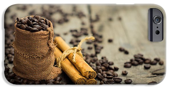 Pause iPhone Cases - Coffee beans and cinnamon stick iPhone Case by Aged Pixel