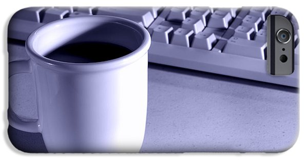 Workplace iPhone Cases - Coffee Blue iPhone Case by Olivier Le Queinec
