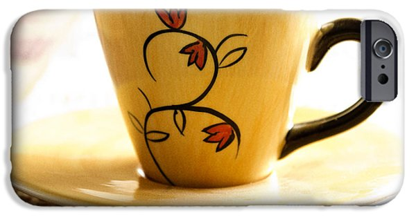 Flower Design Photographs iPhone Cases - Coffee cup iPhone Case by Blink Images