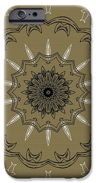 Coffee Flowers 3 Olive Ornate Medallion iPhone Case by Angelina Vick