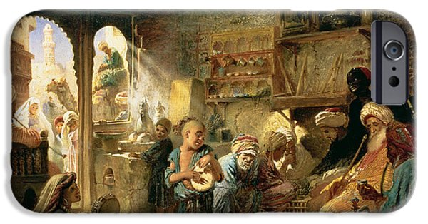 Hookah iPhone Cases - Coffee House In Cairo, 1870s Oil On Canvas iPhone Case by Konstantin Egorovich Makovsky