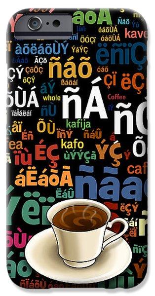 Coffee Language iPhone Case by Bedros Awak