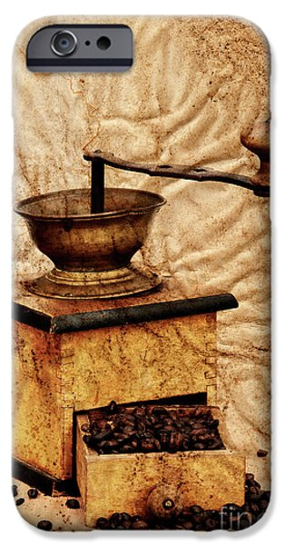 Old Grinders iPhone Cases - Coffee Mill And Beans In Grunge Style iPhone Case by Michal Boubin