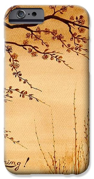 Coffee painting Cherry Blossoms iPhone Case by Georgeta  Blanaru